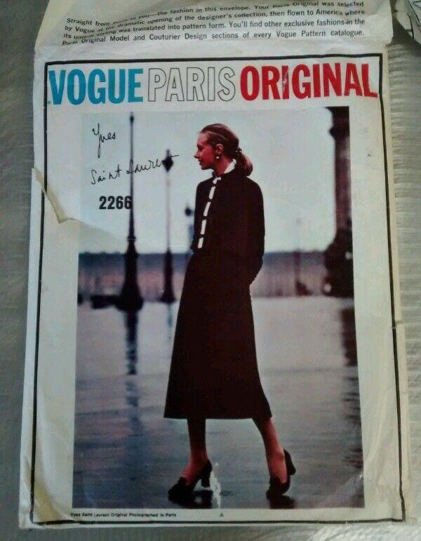 Vogue Paris Original 2266 Yves St Laurent rare pattern suit and Blouse sld au29+10 us21.89 1bd 8/23/16