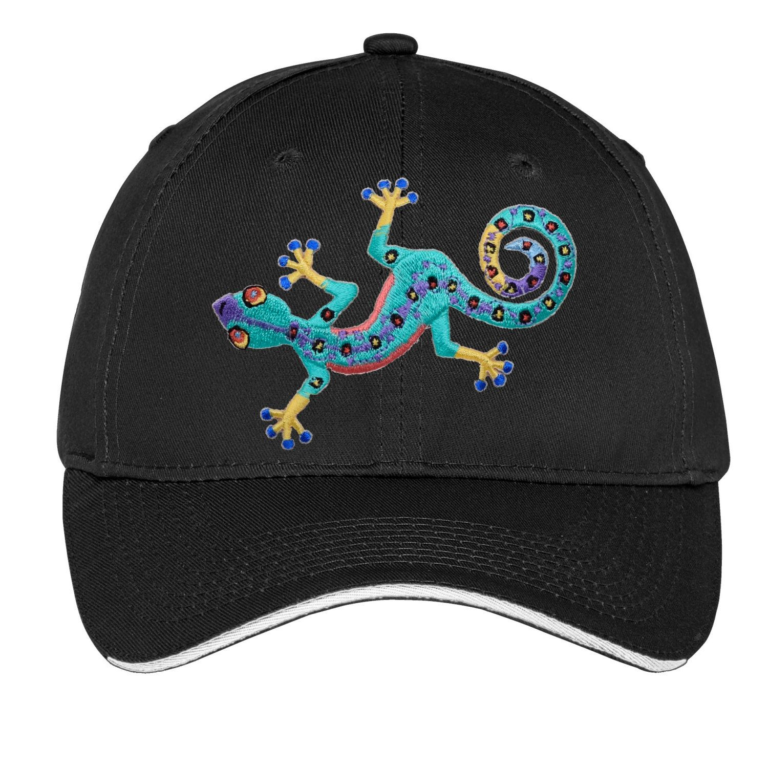 e46147ecd31 Gecko Embroidered Hat Cap Baseball Fashion Womens Girls Style Colorful  Green Blue Yellow by TimeofReason on Etsy