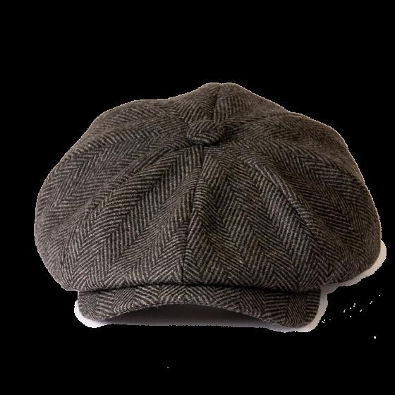Peaky Blinders Unisex Cloth Herringbone Tweed Newspaper Boy Flat Cap British Designers Gamble Gunn Herringbone Tweed Newspaper Boy Hat Mixing Fabrics