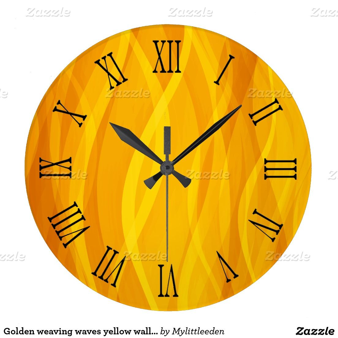 Golden weaving waves yellow wall clock | Bedroom Ideas | Pinterest ...