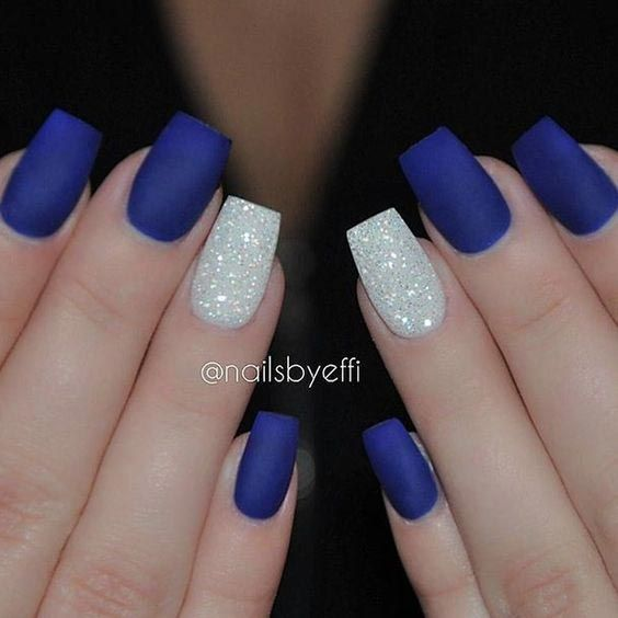 Matte blue and white glitters #nail #nailart #glitter #womentriangle - 35 Easy Glitter Nail Art Ideas You Will Love To Try Nail Art