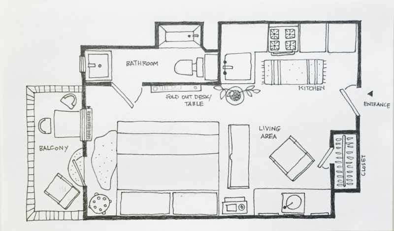 5 Studio Apartment Layouts to Try That Just Work Front cabin