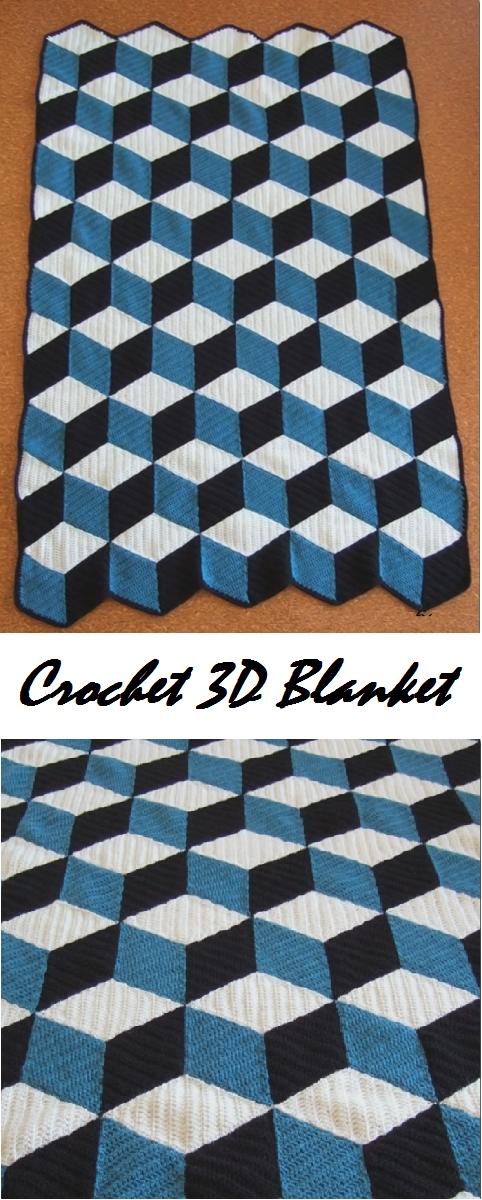 Crochet 3D Blanket   Sarapes Sencillo   Pinterest   Sencillo y Puntos