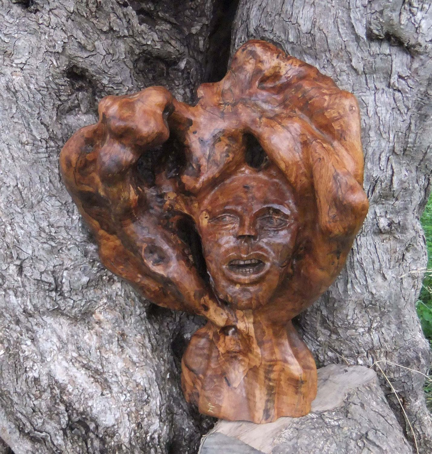 The Green Man, hand carved olive wood sculpture by ellenisworkshop on Etsy