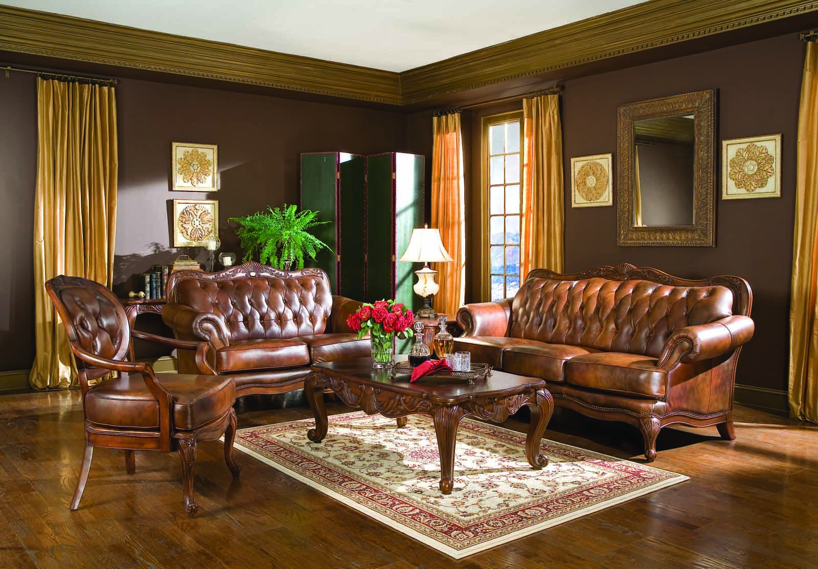Coaster Victoria Leather Living Room Set Leather Living