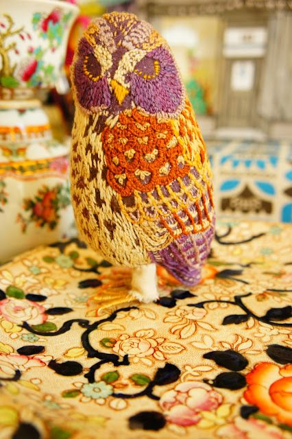 Catherine,s wonderful embroidered birds.