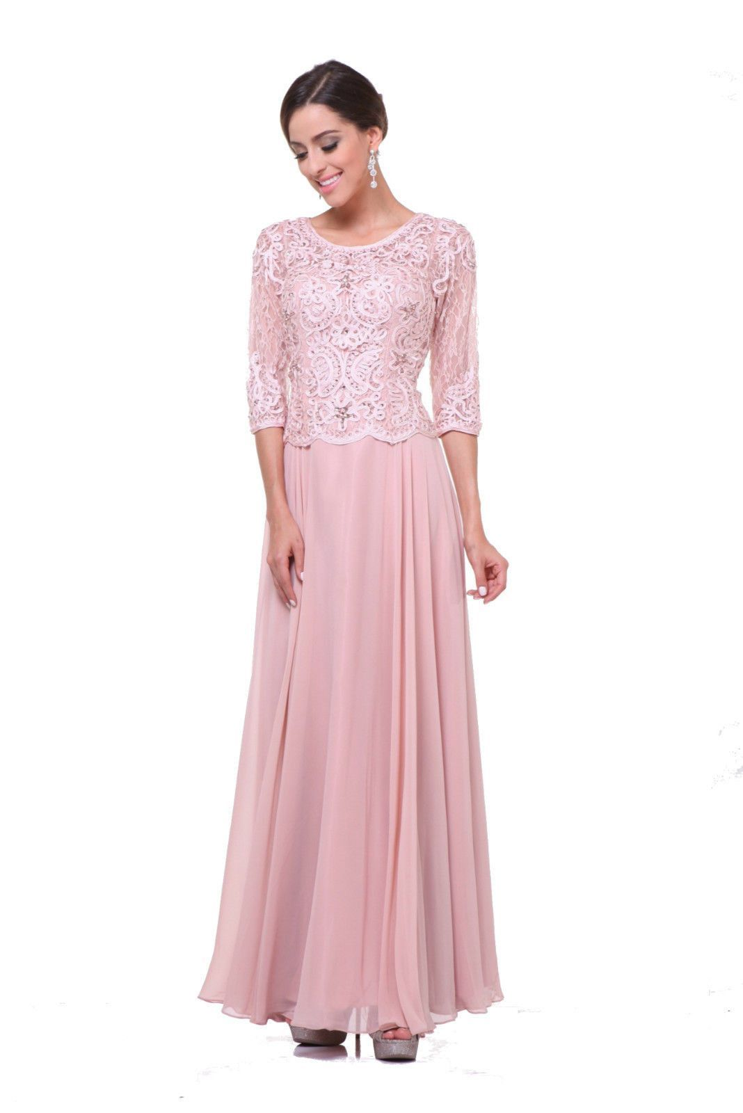 71fb115d07369 Modest Mother of the Bride Dress Plus Size Hijab Long Sleeves - The Dress  Outlet - 4