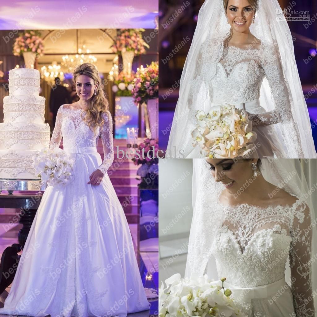 wedding dresses off the shoulder high neck long sleeves pearls