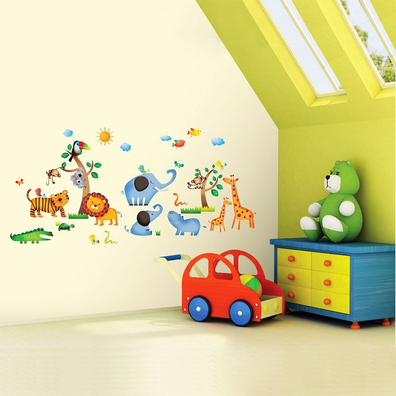 wandsticker wandtattoo dschungeltiere safari kinderzimmer. Black Bedroom Furniture Sets. Home Design Ideas
