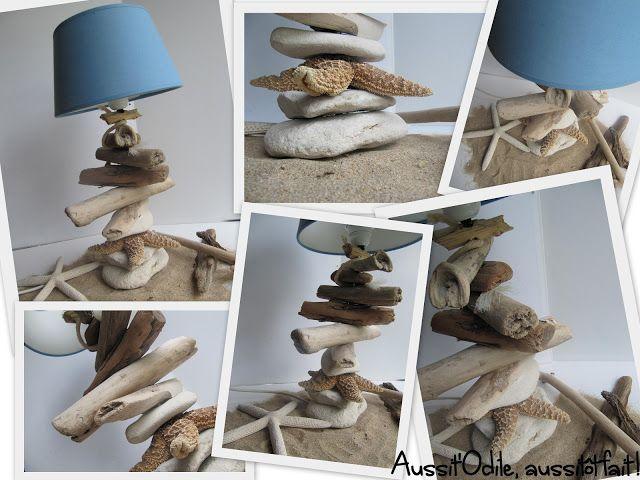 lampe r alis e avec du bois flott des galets et toile de mer coups de coeur pinterest. Black Bedroom Furniture Sets. Home Design Ideas