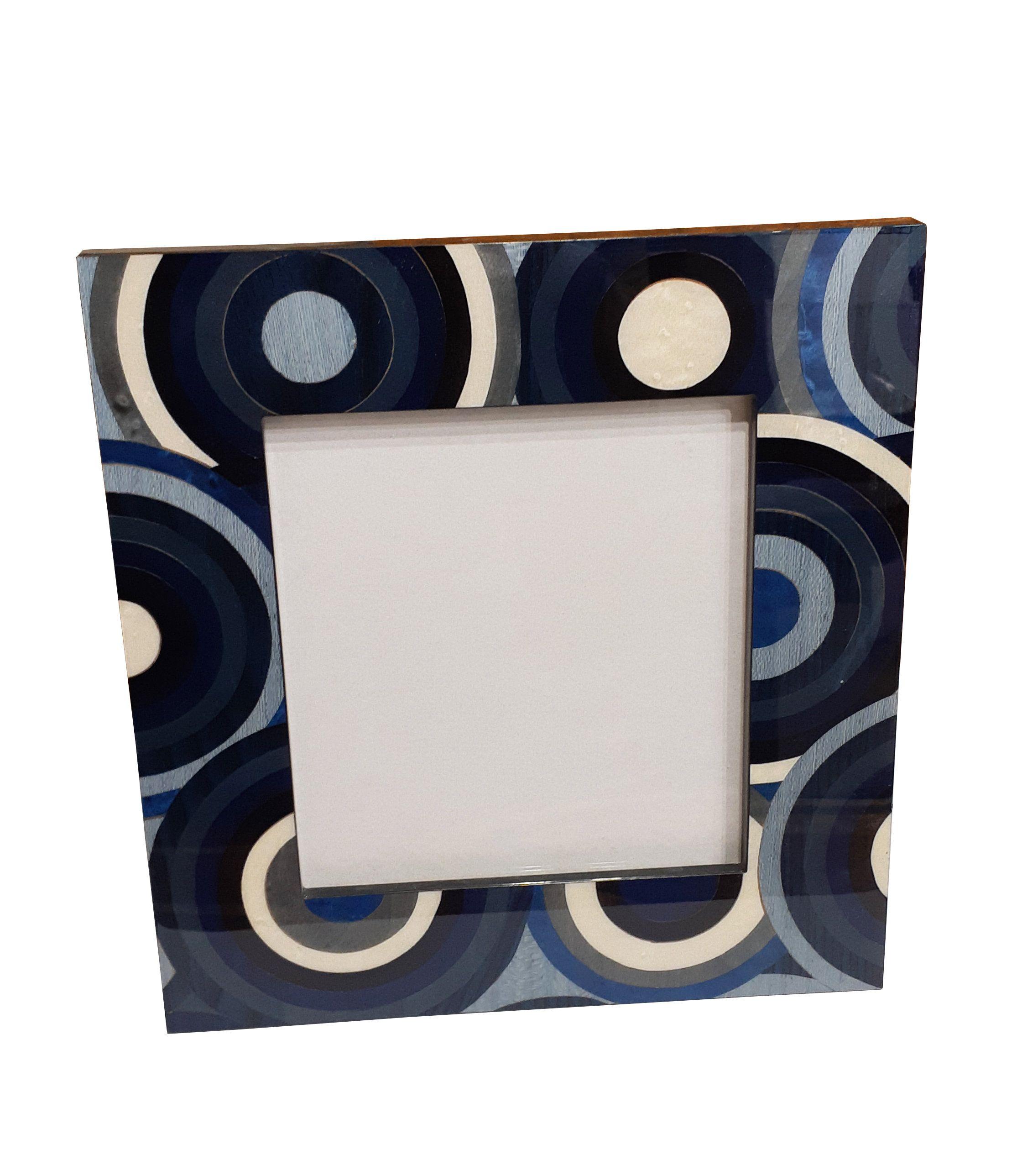 """Cornice in legno intarsiato """"blu cerchi colorati"""" design"""