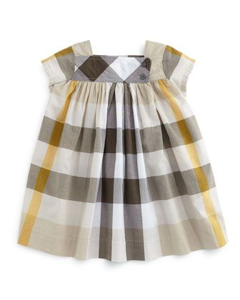 Paisley Check Cap-Sleeve Shift Dress, Mink Gray, Size 3M-3Y by Burberry at Neiman Marcus.