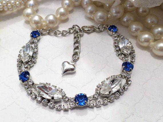 d39a48519 SAPPHIRE PRINCESS BRIDE, swarovski bracelet, crystal, navettes, blue,  silver…