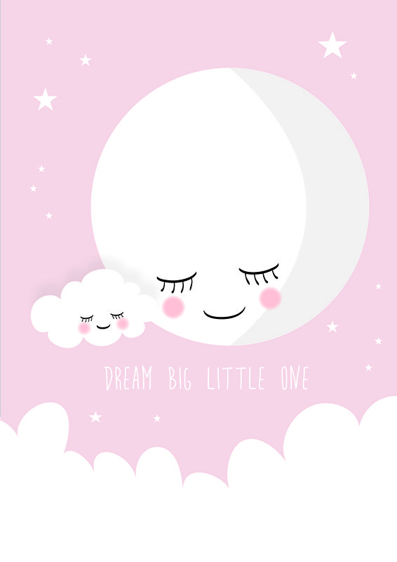poster dream big little one roze a4 | kinderkamer | pinterest, Deco ideeën
