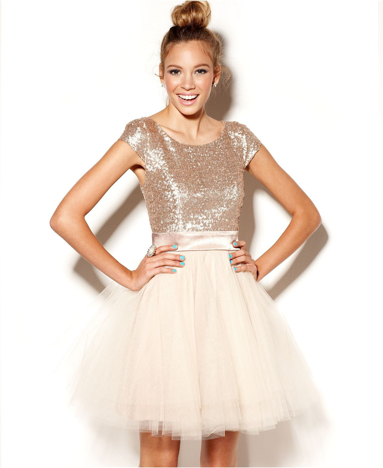 Trixxi Juniors Dress, Cap Sleeve Sequin Tulle - Juniors Dresses ...