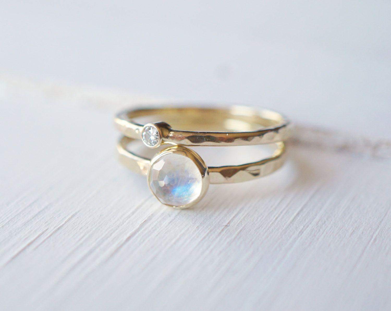 Custom rings moonstone rings stacking rings moonstone jewelry