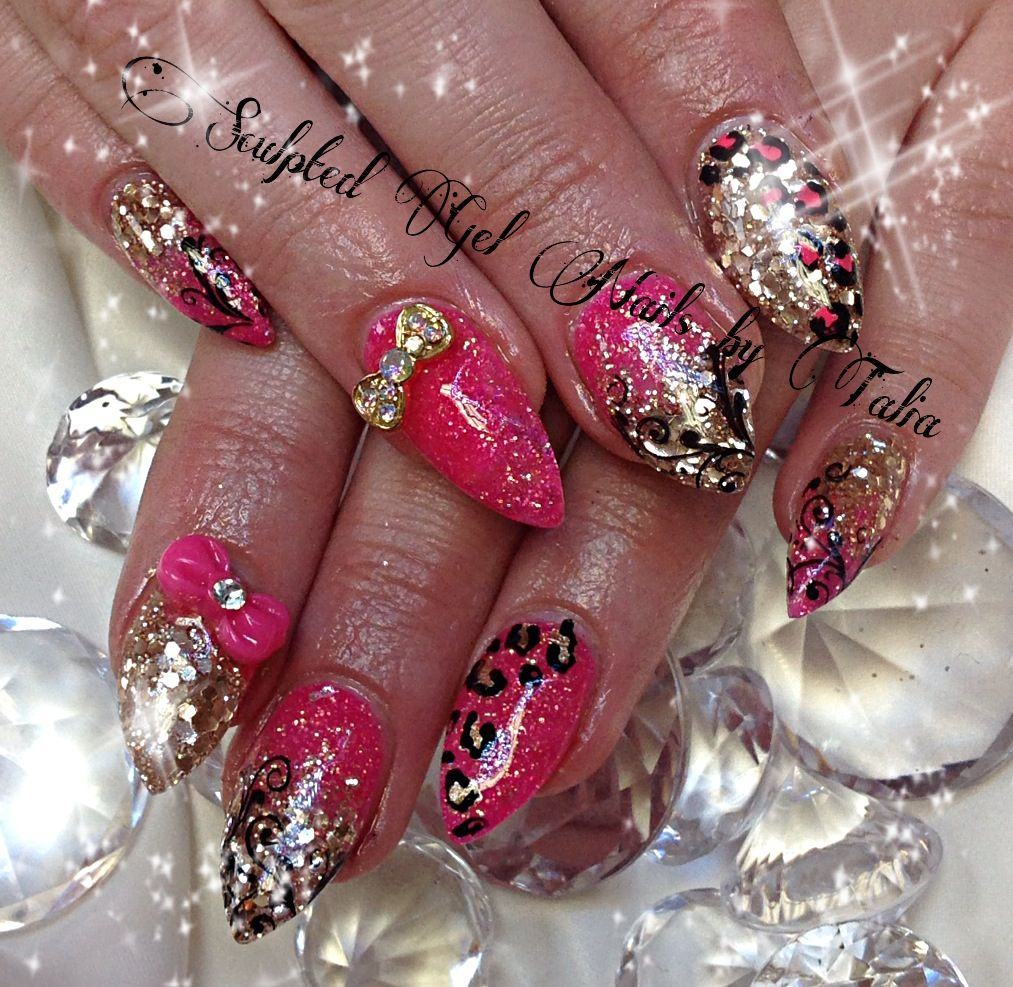 pink gold bling nail art cute