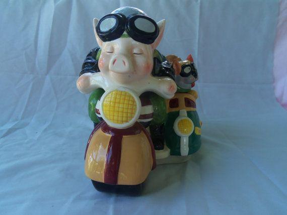 Disney Cookie Jar Etsy >> Pig Motorcycle Cookie Jar By Anniesshed On Etsy Cuddly Pig Cookie