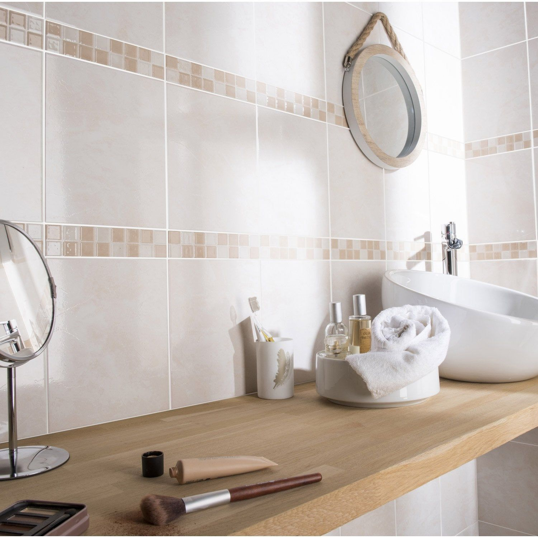 Faïence mur marbre beige brillant l.16 x L.16 cm, Olympe AERO