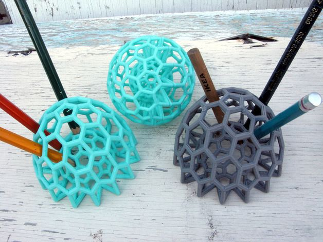 Buckyball pencil holder by pmoews Cool pencil holder ideas