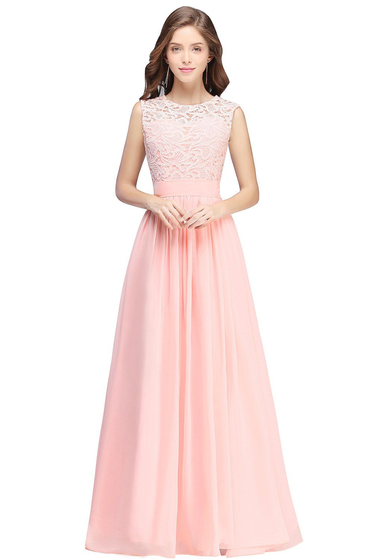 Misshow maxi length lace bridesmaid dresses 2017 sheer