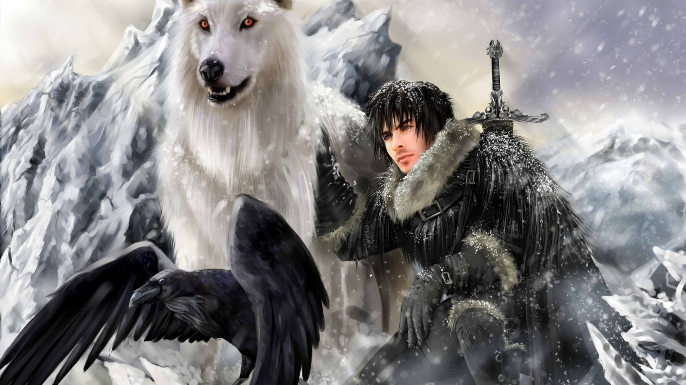 1366x768 Wallpaper game of thrones, a song of ice and fire, jon snow, raven