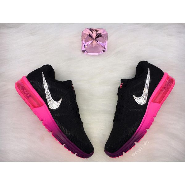 Swarovski Nike Air Max Sequent 2 Running Shoes Black Blinged Out With... (