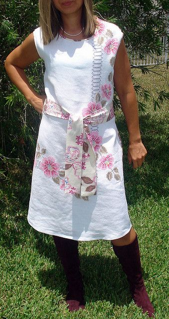 Upcycled vintage embroidered tablecloth dress