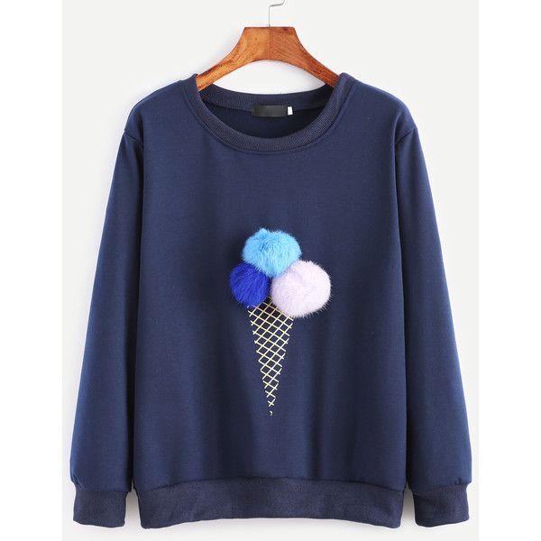 7e8e68e24b4cf SheIn(sheinside) Ice Cream Print Pom Pom Sweatshirt ( 10) ❤ liked on  Polyvore featuring tops