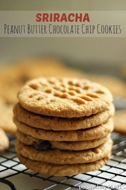 Peanut butter chocolate chip cookies with a little kick of Sriracha {Persnickety Plates}