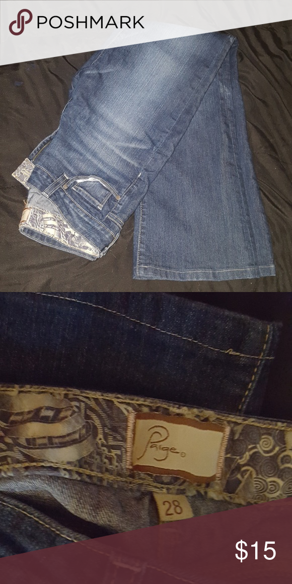Dark blue jeans Nice and worn in feel, just not into the flared look anymore. PAIGE Jeans Flare & Wide Leg