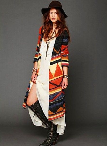 Tribal aztec hooded cardigan, women color block long hooded ...