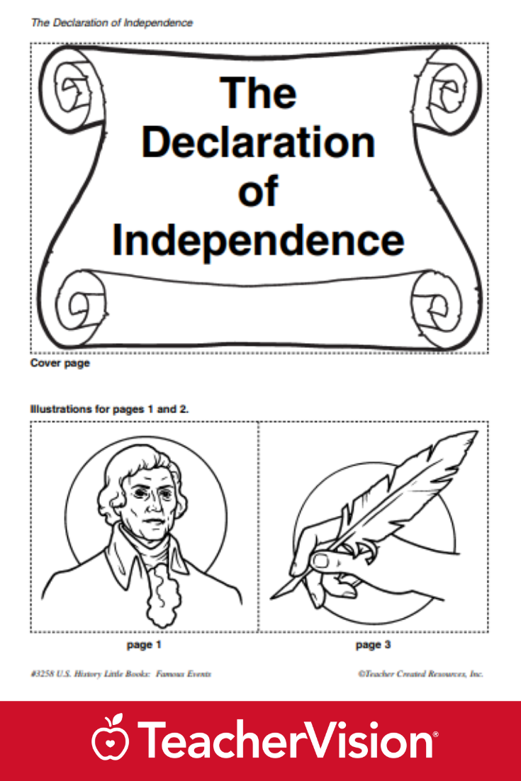 The Declaration of Independence Little Book Printable (K - 3rd Grade)    Declaration of independence [ 1102 x 735 Pixel ]