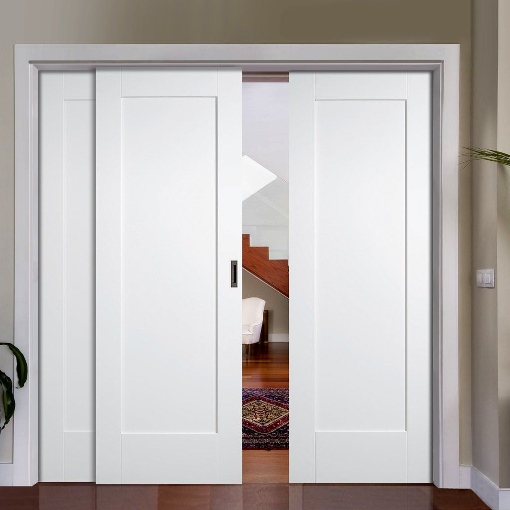 White Closet Doors Sliding - Easi slide op2 white shaker pattern 10 style panel sliding door system in four size