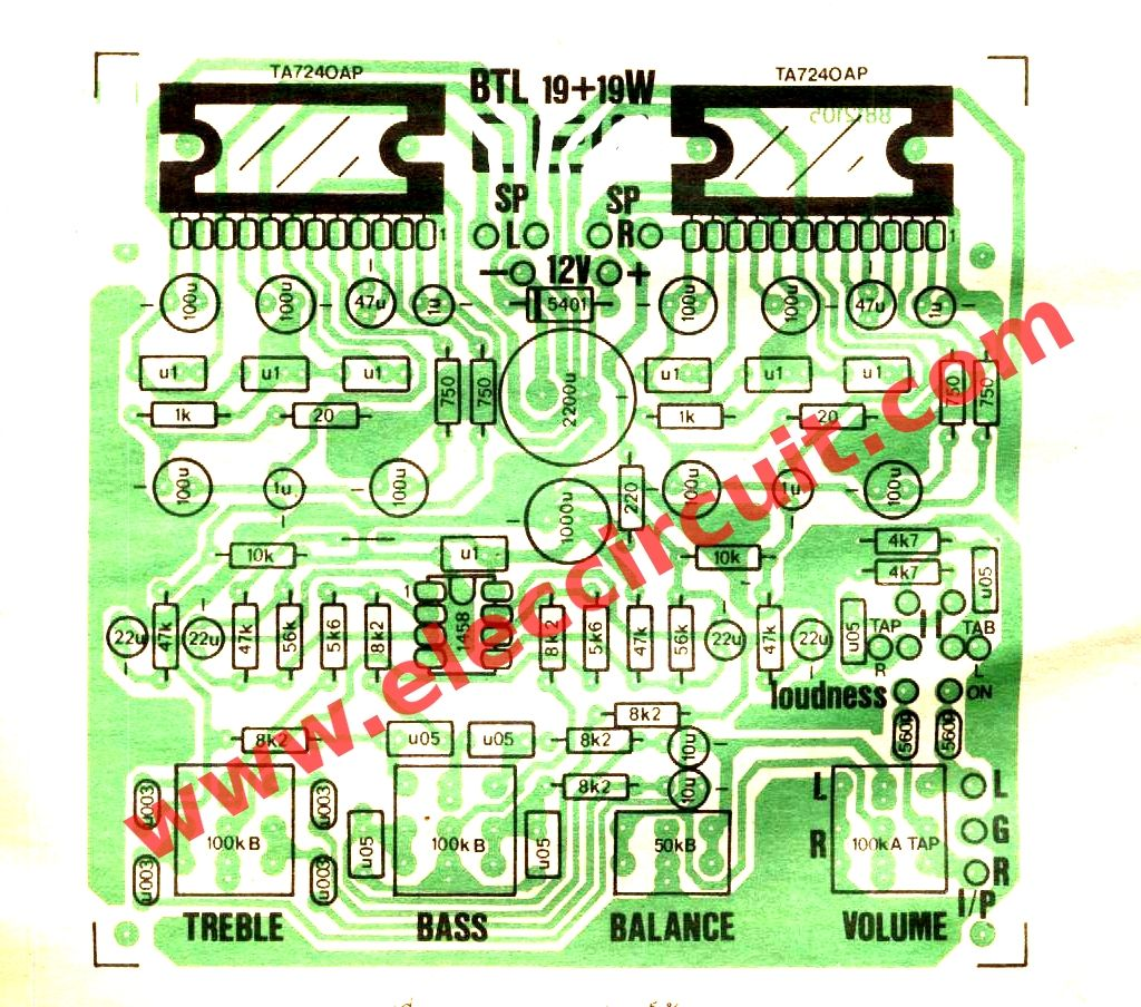 19w Stereo Integrated Amplifier Ic Ta7240ap Eleccircuit Todo Tone Generator Circuits Electronic And Diagramelectronics Today We See The Ideal For Small Rooms Or Use Car Because Power Supply Only 12 Volts