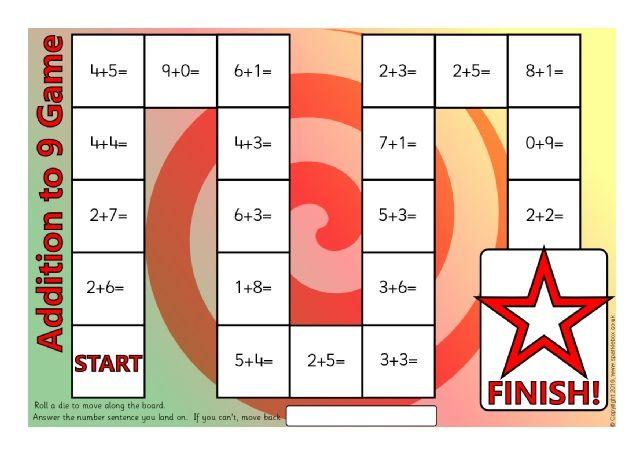 Addition to 9 Board Game (SB11533) - SparkleBox