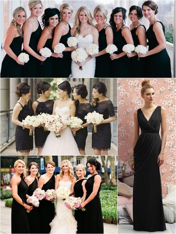 Most popular black bridesmaid dresses