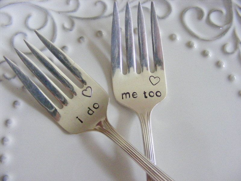 i do me too cake forks with heart stamp. $35.00, via Etsy.  WAY CUTE!!!