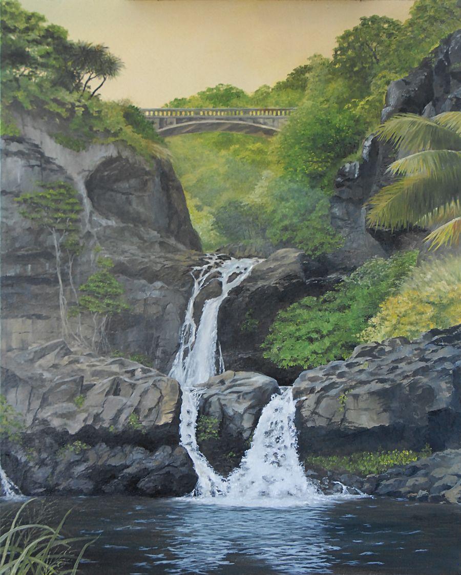 Ohe O Gulch At Kipahulu Maui Or Seven Sacred Pools Oil On Canvas 24 X 30 Seven Sacred Pools Maui Original Landscape Painting Landscape Canvas