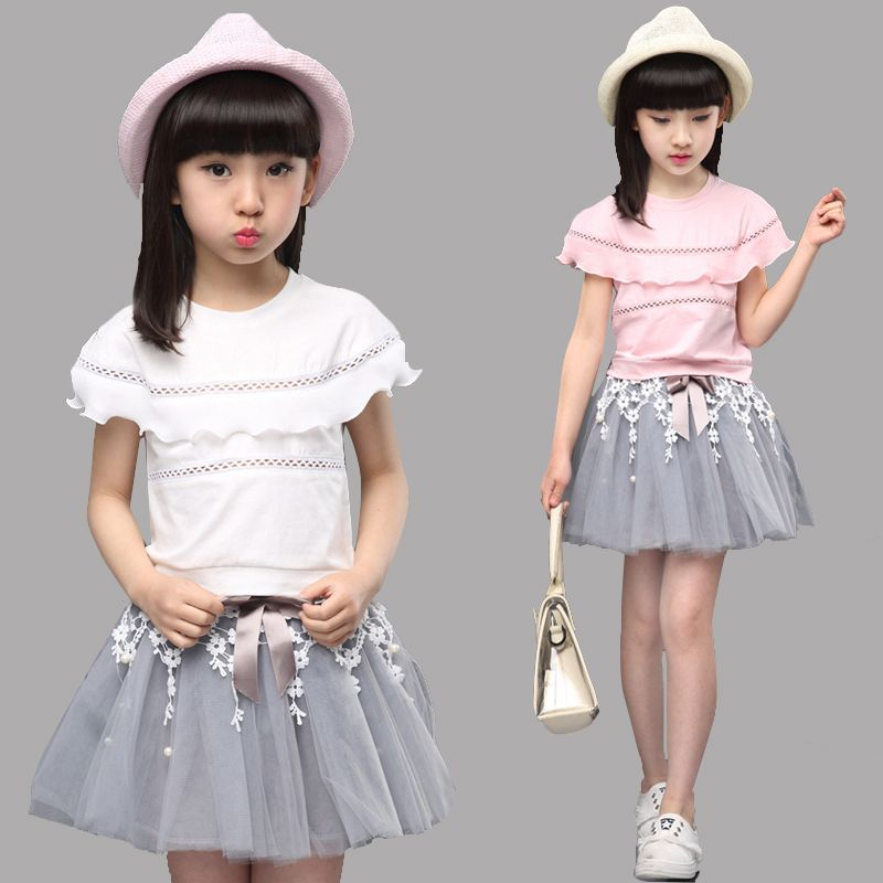 23a07b383f6 Summer Sets Kids Girls Clothes Sets for Children Outfits Girls Lace Tops   Skirts  Suits 2