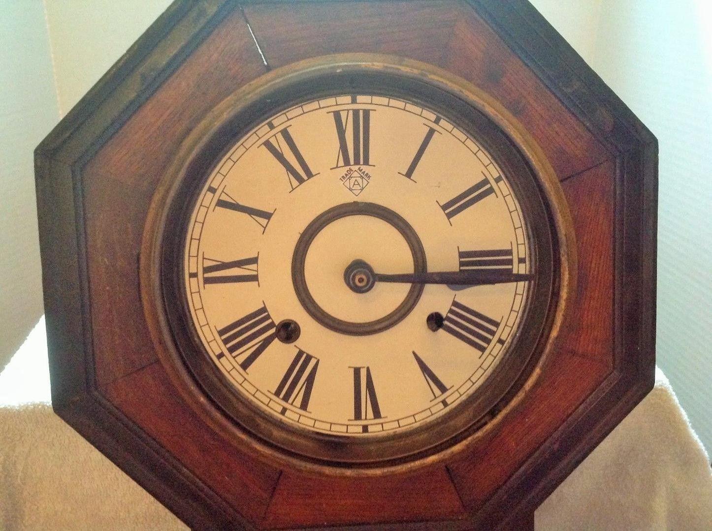 Antique Ansonia Wooden Regulator Schoolhouse Wall Clock Octagon
