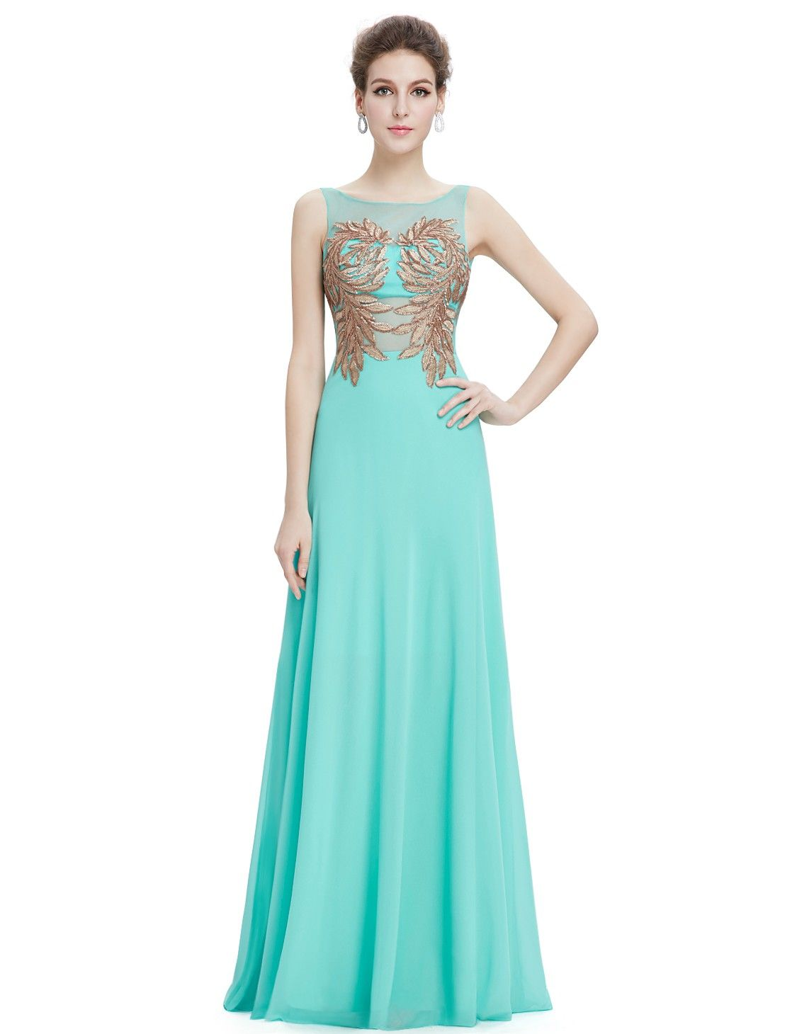Women's Elegant Round Neck Long Evening Party Dress | Vestidos ...