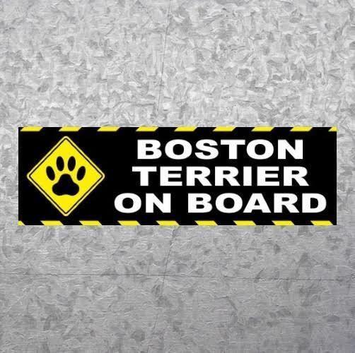 New boston terrier on board dog puppy bumper sticker decal cute