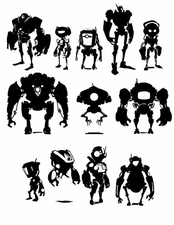 Character Design Thumbnails : Creature box robot silhouette google search robots