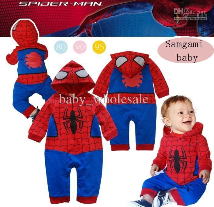 885860418 Wholesale baby boys Spiderman rompers spiderman design baby onesies ...