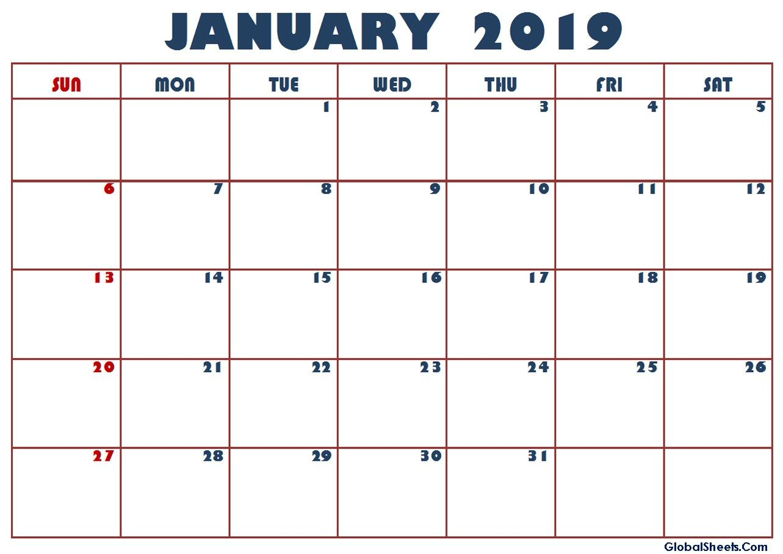Calendar For January 2019 Philippines Excel Calendar Calendar