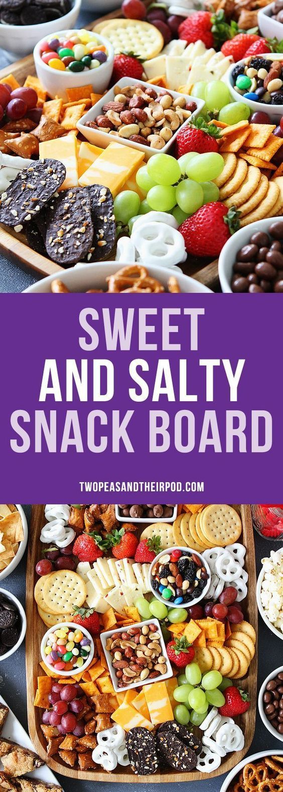 How to Make a Sweet and Salty Snack Board for parties! This snack spread is perfect for game day or any party. The perfect party food for easy entertaining. #party #entertaining #snacks #movienightsnacks