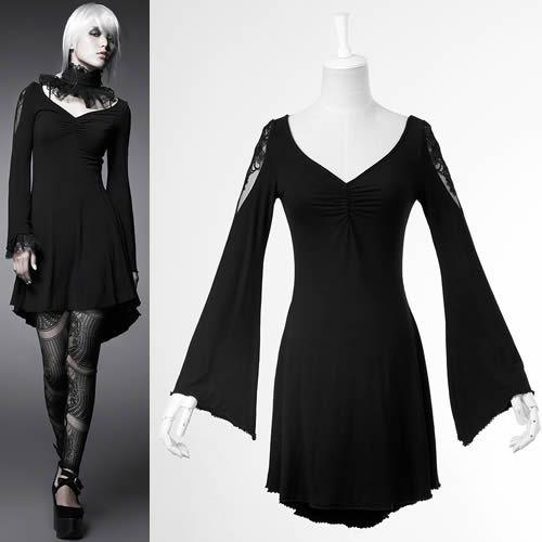 Black Long Sleeve Knee Length High Low Goth Burlesque Fashion Dresses SKU-11402307