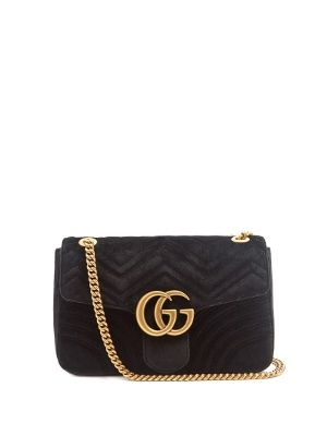 d6471a80d9b6ff Medium Size 30cm Gucci only available at Matches GG Marmont black  quilted-velvet cross-body bag at only available at MATCHESFASHION.COM