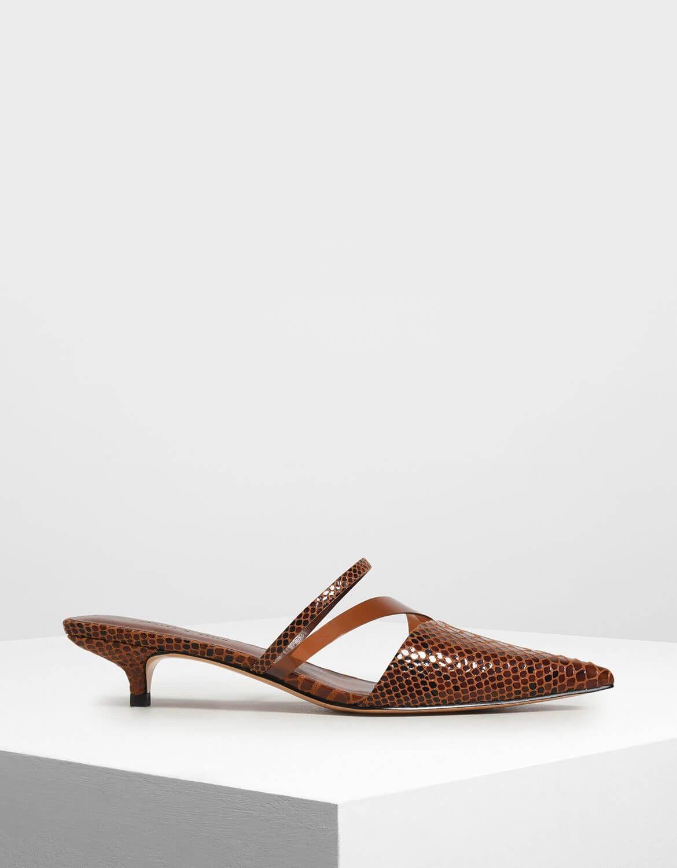 Dark Brown Croc Effect Asymmetrical Kitten Heel Mules Charles Keith Us Kitten Heels Heeled Mules Heels